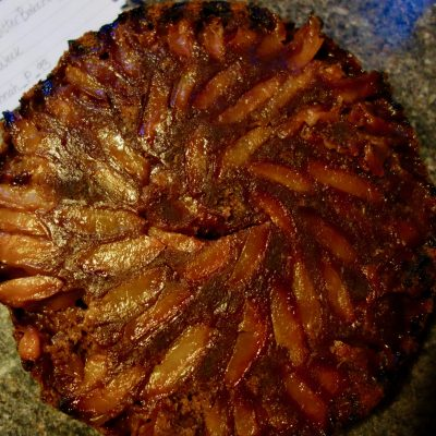 vegan chocolate and plum upside-down cake