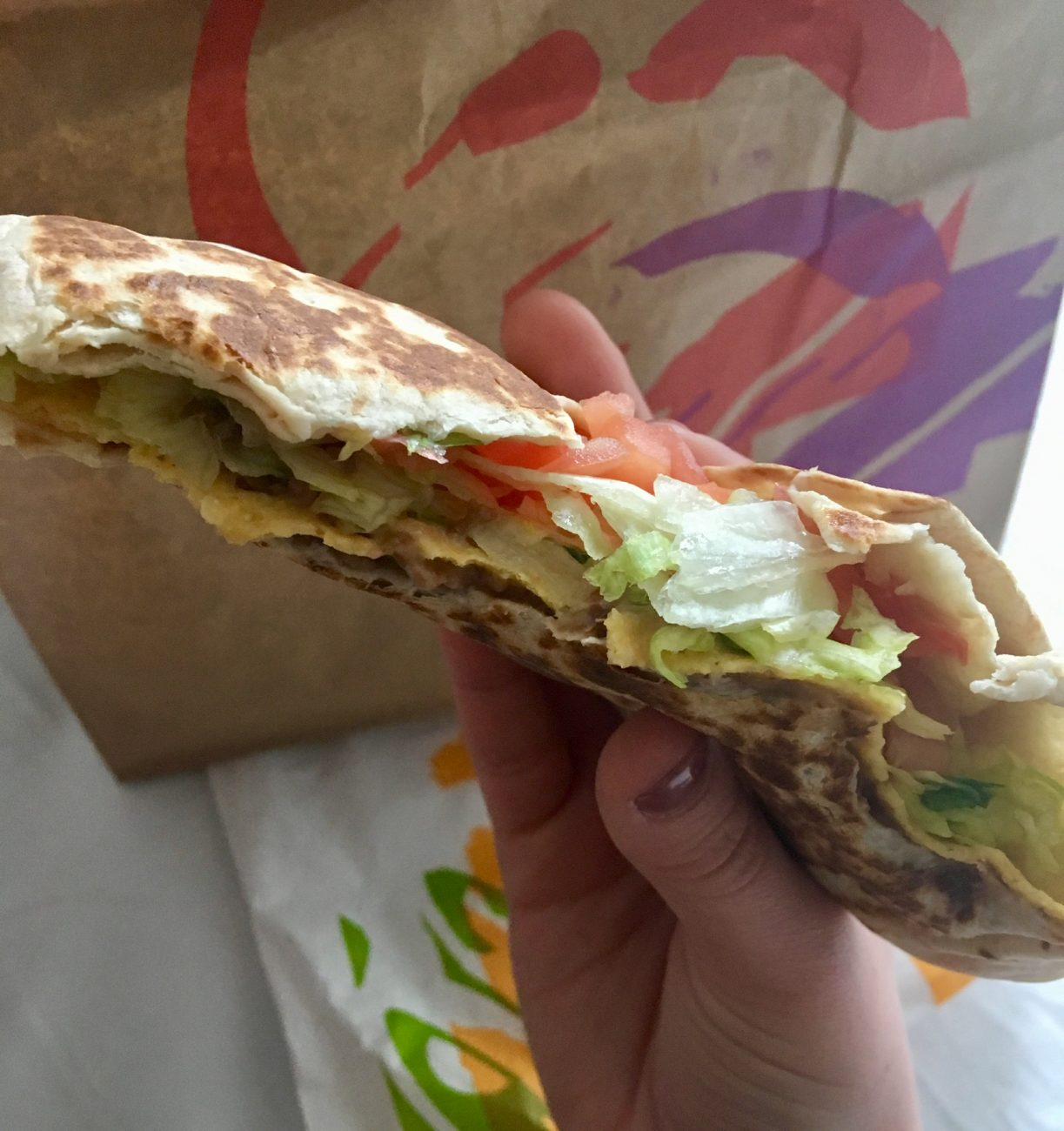 Vegan at Taco Bell Crunchwrap supreme